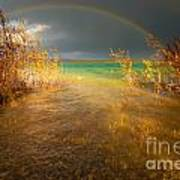 Rainbow And Dark Clouds Over Large Lake Art Print