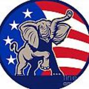 Republican Elephant Mascot Usa Flag Art Print by Aloysius Patrimonio