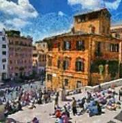 Spanish Steps At Piazza Di Spagna Art Print