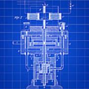 Tesla Electric Generator Patent 1894 - Blue Art Print
