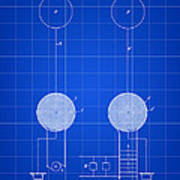 Tesla Electric Transmission Patent 1900 - Blue Art Print