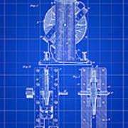 Tesla Electro Magnetic Motor Patent 1889 - Blue Art Print