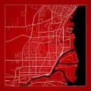 Thunder Bay Street Map - Thunder Bay Canada Road Map Art On Colo Art Print