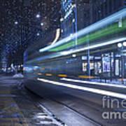 Tram At Night Art Print
