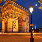 Twilight At Arc De Triomphe Art Print