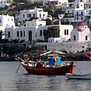 A Boat In The Harbor Of Mykonos Greece Art Print
