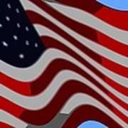 50 Star American Flag Closeup Abstract 6 Art Print