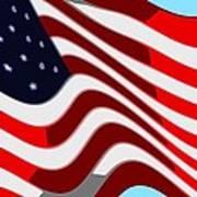 50 Star American Flag Closeup Abstract 7 Art Print