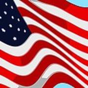 50 Star American Flag Closeup Abstract 9 Art Print by L Brown