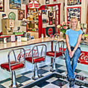 50s American Style Soda Fountain Art Print by David Smith