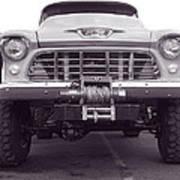 56 Chevy Truck In Bw Art Print