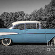 57 Chevy Black And White And Color Art Print