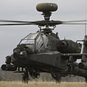 Ah-64 Apache Helicopter On The Runway Art Print