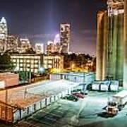 Charlotte City Skyline Night Scene Art Print