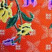 Colorful Batik Cloth Fabric Background  Art Print