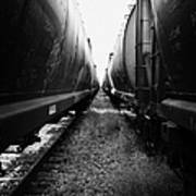 freight grain trucks on former canadian pacific railway now great sandhills railway through leader S Art Print