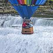 Hot Air Balloon Over The Middle Falls At Letchworth State Park Art Print
