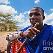 Maasai Man Portrait In Tanzania Art Print