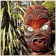 Maori Carving Art Print by Les Cunliffe