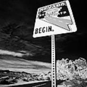 Nevada Scenic Byways Begin Signpost On The White Domes Road Valley Of Fire State Park Nevada Usa Art Print