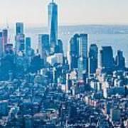 New York City Manhattan Midtown Aerial Panorama View With Skyscr Art Print