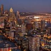 Seattle Skyline With Mount Rainier And Downtown City Lights Art Print