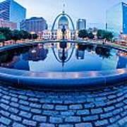 St. Louis Downtown Skyline Buildings At Night Art Print