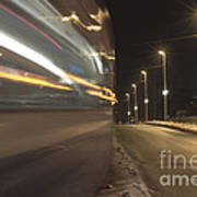 Tram At Night Art Print