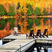 Wooden Dock On Autumn Lake Art Print