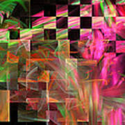 Abstract Checkered Pattern Fractal Flame Art Print
