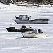 Boat And Ice Hobart Beach Ny Art Print