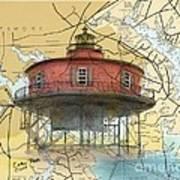 7 Ft Knoll Lighthouse Md Nautical Chart Map Art Cathy Peek Art Print