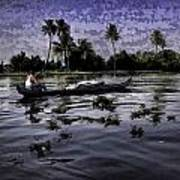 Man Boating On A Salt Water Lagoon Art Print