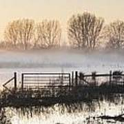 Panorama Landscape Of Lake In Mist With Sun Glow At Sunrise Art Print