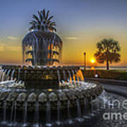 Pineapple Fountain At Sunrise Art Print