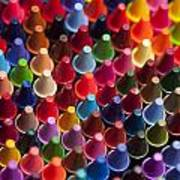 Rows Of Multicolored Crayons  Art Print