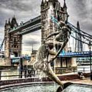 Tower Bridge And The Girl And Dolphin Statue Art Print
