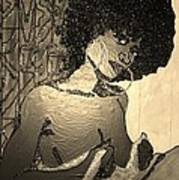 70s Chic Sepia Art Print