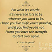 74- F. Scott Fitzgerald Art Print