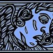 Bouthillette Angel Cherub Blue Black Art Print
