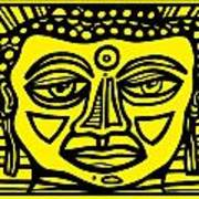 Jakubek Buddha Yellow Black Art Print