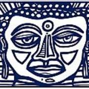 Trivane Buddha Blue White Art Print