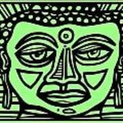 Cleark Buddha Green Black Art Print