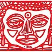 Barbot Buddha Red White Art Print