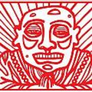 Pisco Buddha Red White Art Print