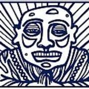 Frisby Buddha Blue White Art Print