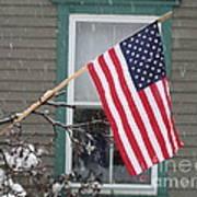 #762 D68 American Flag Winter Art Print