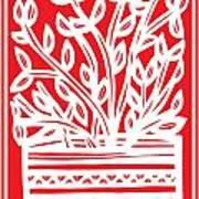 Kimbrell Plant Leaves Red White Art Print