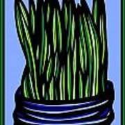 Chrisler Plant Leaves Blue Green Red Art Print