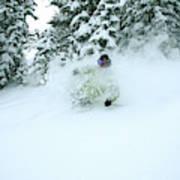A Man Skiing In Powder Near South Lake Art Print